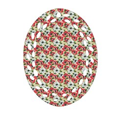 Gorgeous Red Flower Pattern Ornament (Oval Filigree)