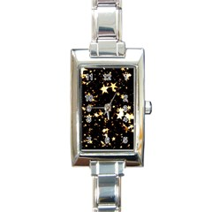 Golden stars in the sky Rectangle Italian Charm Watch
