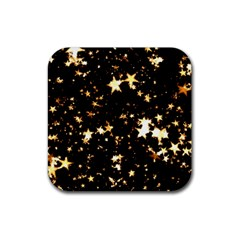 Golden stars in the sky Rubber Square Coaster (4 pack)