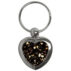 Golden stars in the sky Key Chains (Heart)