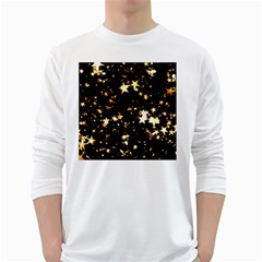 Golden stars in the sky White Long Sleeve T-Shirts