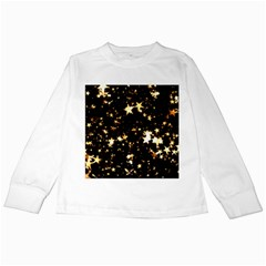 Golden stars in the sky Kids Long Sleeve T-Shirts