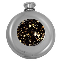 Golden stars in the sky Round Hip Flask (5 oz)