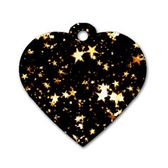 Golden stars in the sky Dog Tag Heart (One Side)