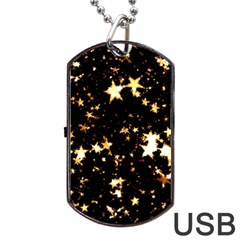 Golden stars in the sky Dog Tag USB Flash (Two Sides)