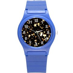 Golden stars in the sky Round Plastic Sport Watch (S)