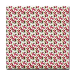 Gorgeous Pink Flower Pattern Tile Coasters