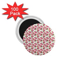 Gorgeous Pink Flower Pattern 1.75  Magnets (100 pack)