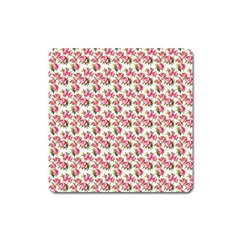 Gorgeous Pink Flower Pattern Square Magnet