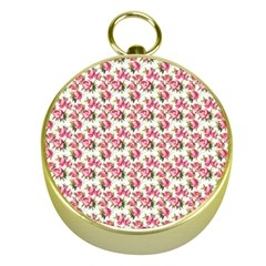 Gorgeous Pink Flower Pattern Gold Compasses