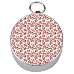Gorgeous Pink Flower Pattern Silver Compasses