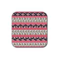 Cute Flower Pattern Rubber Square Coaster (4 pack)