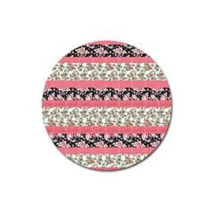 Cute Flower Pattern Magnet 3  (Round)