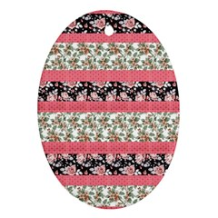 Cute Flower Pattern Oval Ornament (Two Sides)
