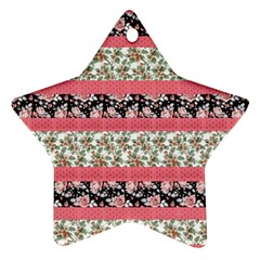 Cute Flower Pattern Star Ornament (Two Sides)