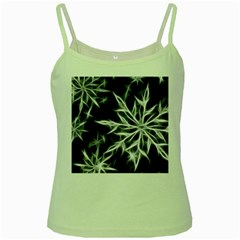 Snowflake in feather look, black and white Green Spaghetti Tank
