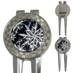 Snowflake in feather look, black and white 3-in-1 Golf Divots