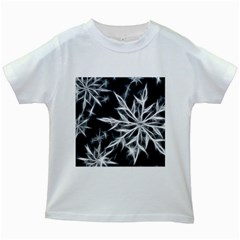 Snowflake in feather look, black and white Kids White T-Shirts