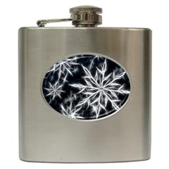 Snowflake in feather look, black and white Hip Flask (6 oz)
