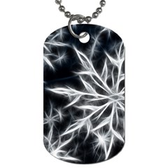Snowflake in feather look, black and white Dog Tag (Two Sides)