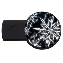Snowflake in feather look, black and white USB Flash Drive Round (1 GB)