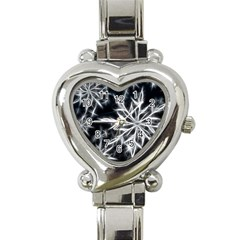Snowflake in feather look, black and white Heart Italian Charm Watch