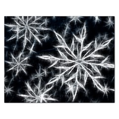 Snowflake in feather look, black and white Rectangular Jigsaw Puzzl