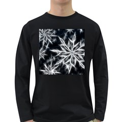 Snowflake in feather look, black and white Long Sleeve Dark T-Shirts