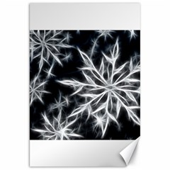 Snowflake in feather look, black and white Canvas 20  x 30