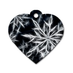 Snowflake in feather look, black and white Dog Tag Heart (Two Sides)