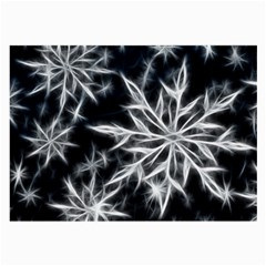 Snowflake in feather look, black and white Large Glasses Cloth