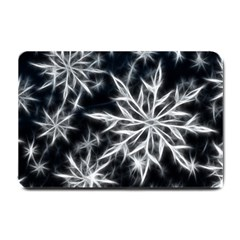 Snowflake in feather look, black and white Small Doormat
