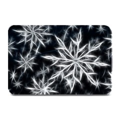 Snowflake in feather look, black and white Plate Mats