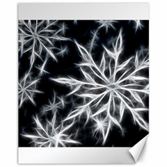 Snowflake in feather look, black and white Canvas 11  x 14