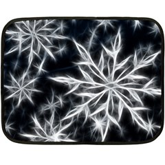 Snowflake in feather look, black and white Fleece Blanket (Mini)