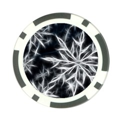 Snowflake in feather look, black and white Poker Chip Card Guards (10 pack)