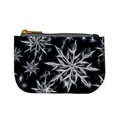 Snowflake in feather look, black and white Mini Coin Purses