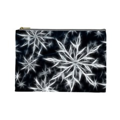 Snowflake in feather look, black and white Cosmetic Bag (Large)
