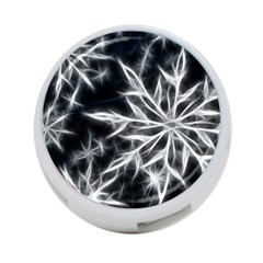Snowflake in feather look, black and white 4-Port USB Hub (One Side)