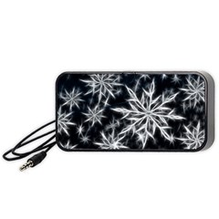 Snowflake in feather look, black and white Portable Speaker (Black)