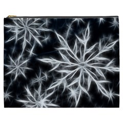 Snowflake in feather look, black and white Cosmetic Bag (XXXL)