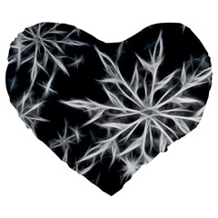 Snowflake in feather look, black and white Large 19  Premium Heart Shape Cushions