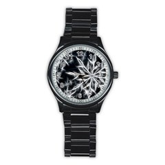 Snowflake in feather look, black and white Stainless Steel Round Watch