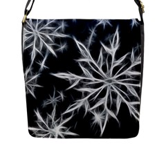 Snowflake in feather look, black and white Flap Messenger Bag (L)