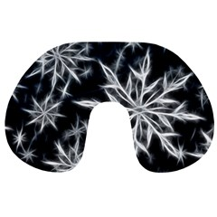 Snowflake in feather look, black and white Travel Neck Pillows