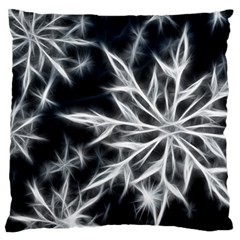 Snowflake in feather look, black and white Large Flano Cushion Case (One Side)
