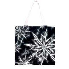 Snowflake in feather look, black and white Grocery Light Tote Bag