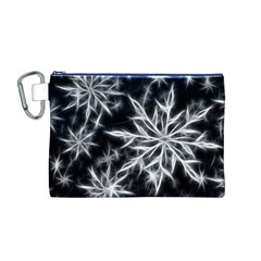 Snowflake in feather look, black and white Canvas Cosmetic Bag (M)