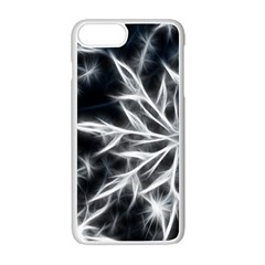 Snowflake in feather look, black and white Apple iPhone 7 Plus White Seamless Case