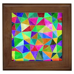 Triangles, colorful watercolor art  painting Framed Tiles